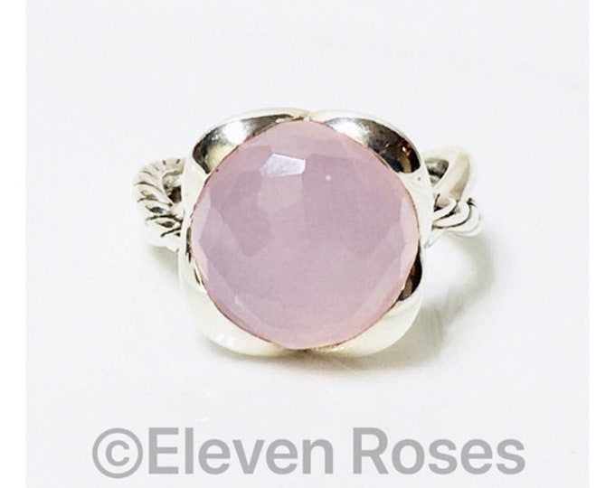 David Yurman Pink Rose Quartz Continuance Ring 925 Sterling Silver Free US Shipping