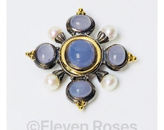 Large Chalcedony Pearl Brooch 925 Sterling Silver 585 14k Gold Free US Shipping