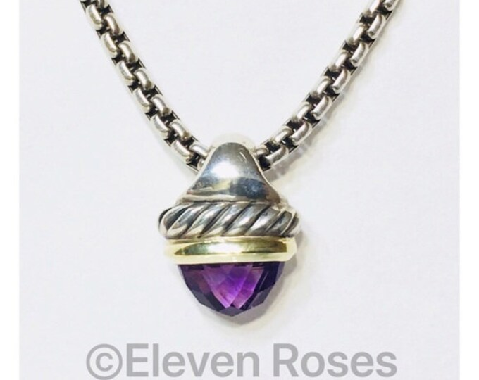 David Yurman Amethyst Acorn Pendant Box Chain Necklace DY 925 Sterling Silver 585 14k Gold Free US Shipping