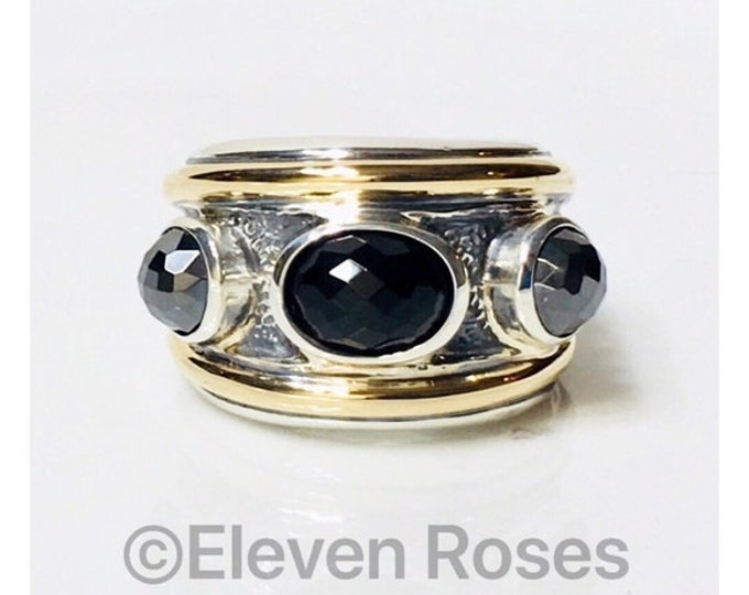 David Yurman Hematine & Black Onyx Three Stone Renaissance Ring 750 18k Gold DY 925 Sterling Silver Free US Shipping