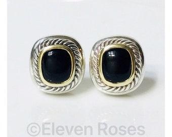 David Yurman Black Onyx Albion Earrings DY 925 Sterling Silver 585 14k Free US Shipping