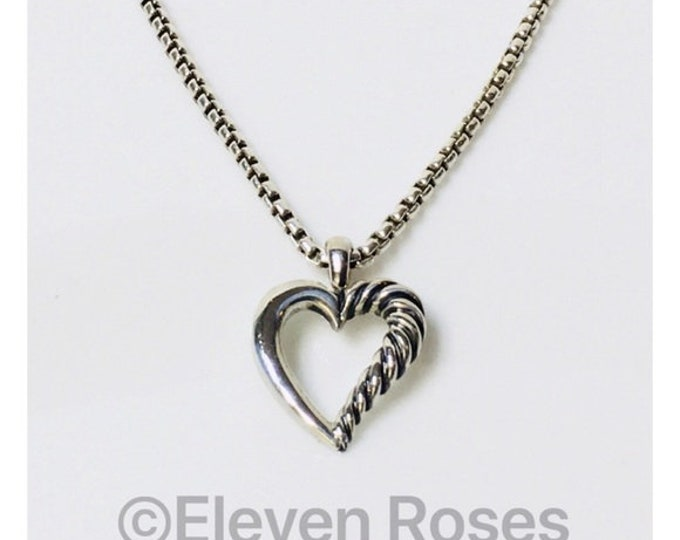 David Yurman Cable Heart Pendant Box Chain Necklace DY 925 Sterling Silver 585 14k Gold Free US Shipping