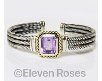 Designer Amethyst Gemstone Three Row Cable Cuff Bracelet 925 Sterling Silver 585 14k Gold Free US Shipping