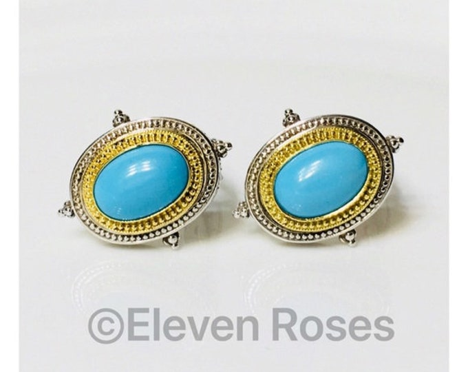 Konstantino Large Turquoise Earrings 925 Sterling Silver 750 18kt Yellow Gold Free US Shipping