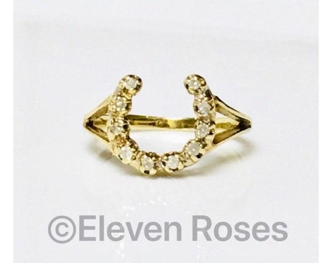 Vintage 585 14k Gold & Diamond Horseshoe Horse Shoe Ring Free US Shipping