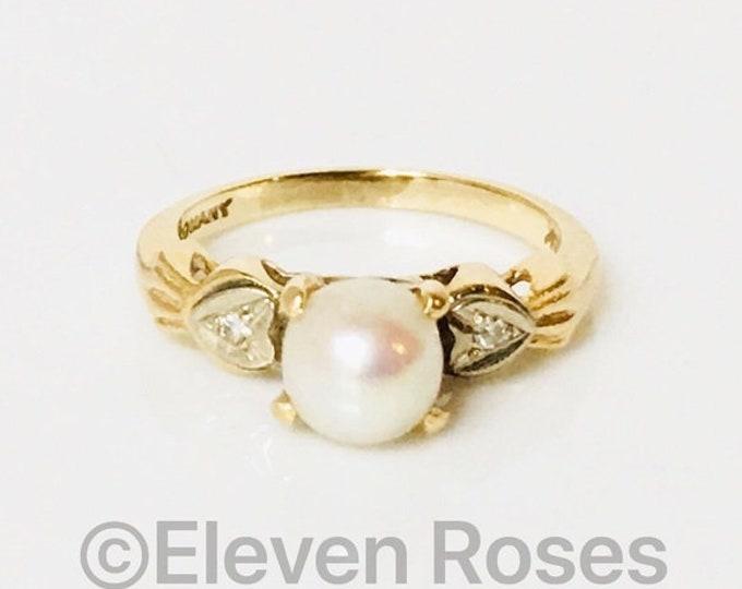 Vintage 585 14k Gold White Pearl & Diamond Ring Free US Shipping
