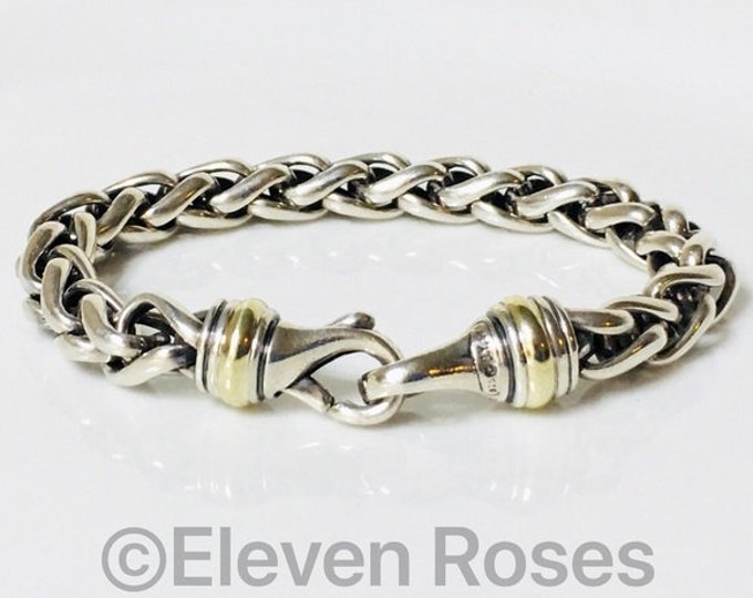 David Yurman Large Wheat Chain Bracelet DY 925 Sterling Silver & 585 14k Gold Free US Shipping