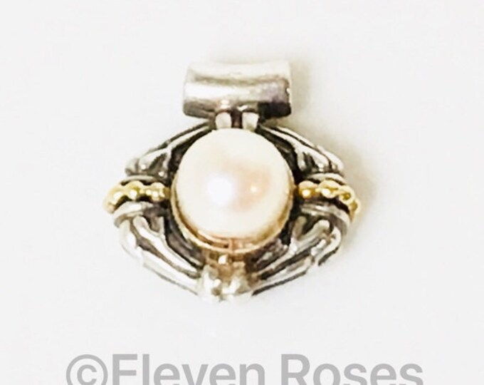 Lagos Caviar Pearl Pendant 925 Sterling Silver 750 18k Gold Free US Shipping