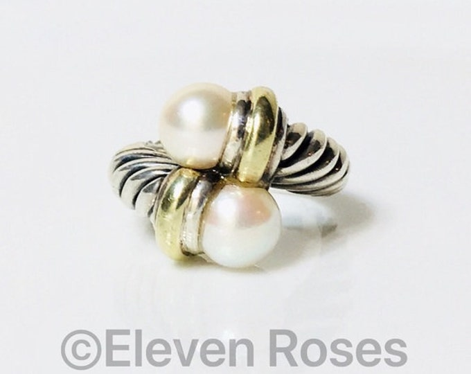 David Yurman Large Classic Cable Double Pearl Bypass Wrap Ring 925 Sterling Silver & 585 14k Yellow Gold Free US Shipping