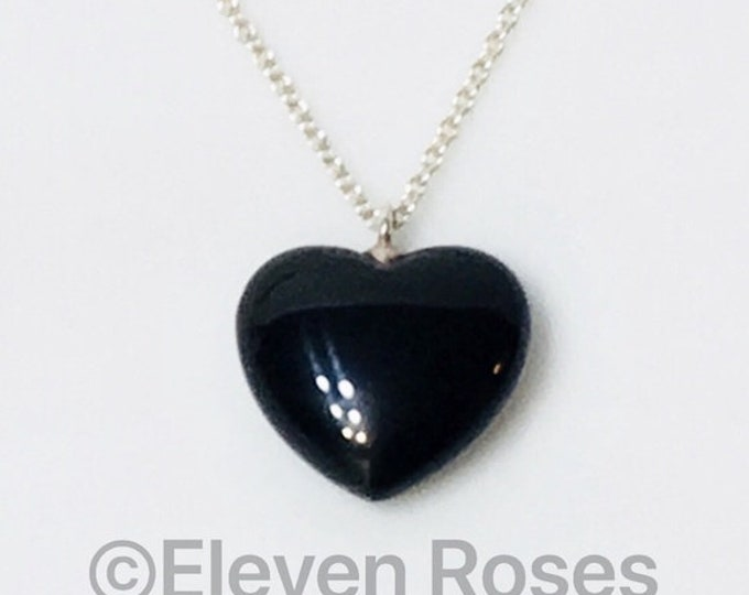 Tiffany & Co. Black Onyx Heart Pendant Necklace 925 Sterling Silver Free US Shipping