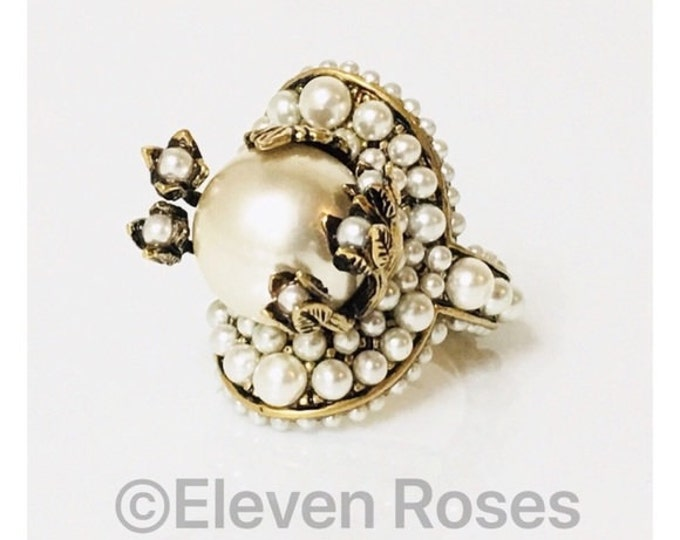 Gucci Pearl Flower Cocktail Ring Free US Shipping
