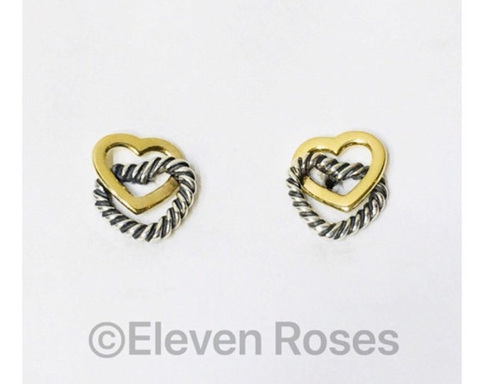 David Yurman Classic Cable Heart Link Earrings 925 Sterling Silver 750 18k Gold Free US Shipping