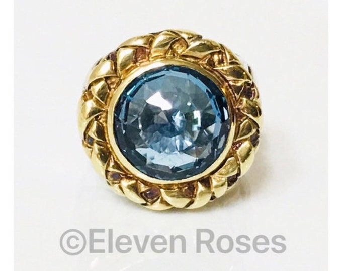 Saint Sarah Jane Blue Topaz Extra Large Ring Statement Cocktail 925 Sterling Silver 750 18k Gold Large Statement Size 7