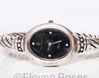 Pierre Bonnet 925 Sterling Silver Cable Diamond Bracelet Watch Free US Shipping