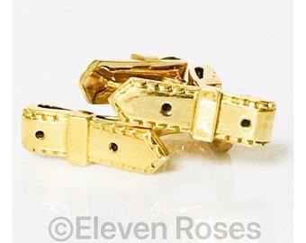 Hermes 750 18k Gold Belt Cufflinks Cuff Links Free US Shipping