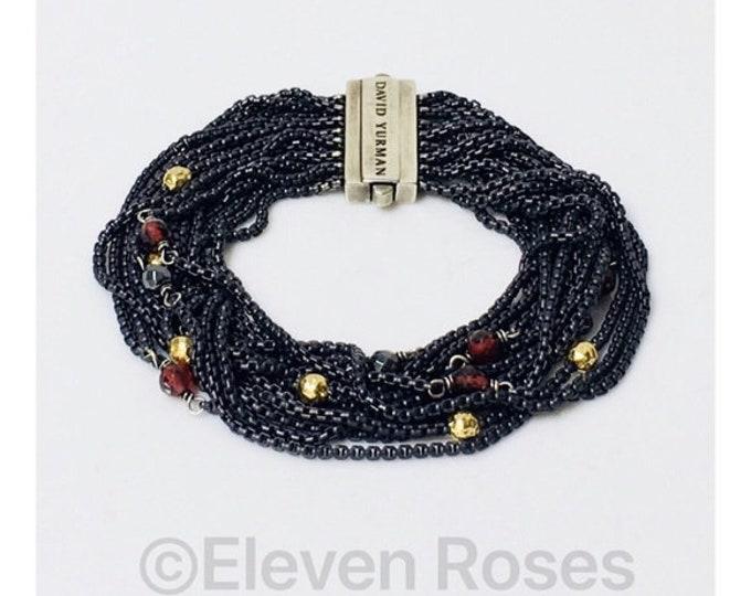 David Yurman Garnet Hematine Multi Row Box Chain Bracelet DY 750 18k Gold 925 Sterling Silver Free US Shipping