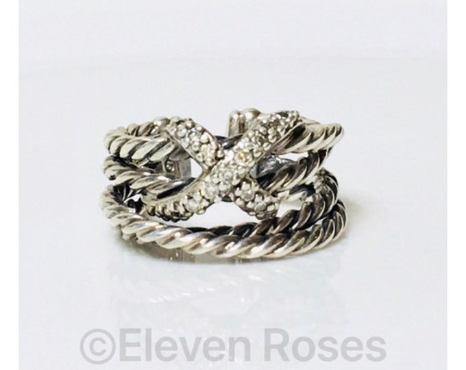 David Yurman Diamond X Cable Crossover Cuff Ring 925 Sterling Silver Free US Shipping