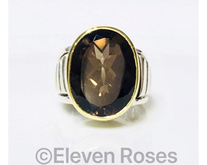 Lagos Caviar Smoky Quartz Cocktail Statement Ring 925 Sterling Silver 750 18k Gold Free US Shipping