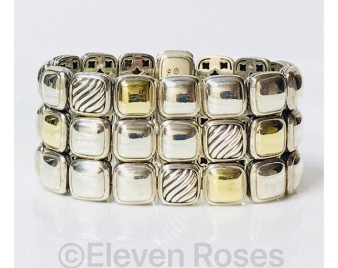 David Yurman Three Row Cushion Chiclet Bracelet DY 925 Sterling Silver & 750 18k Gold Free US Shipping