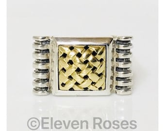 Saint Sarah Jane Large Square Ring 925 Sterling Silver & 750 18k Gold Band Ring Free US Shipping