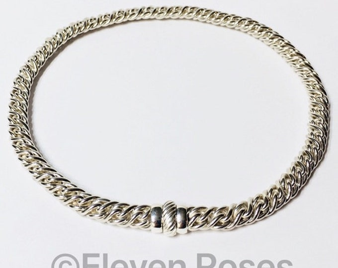 David Yurman Large Lyrica Rope Chain Choker Necklace DY 925 Sterling Silver 750 18k Gold Free US Shipping