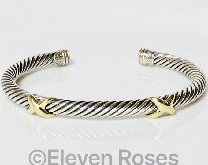 David Yurman Classic Cable Double X Cuff Bracelet 925 Sterling Silver & 585 14k Gold Free US Shipping