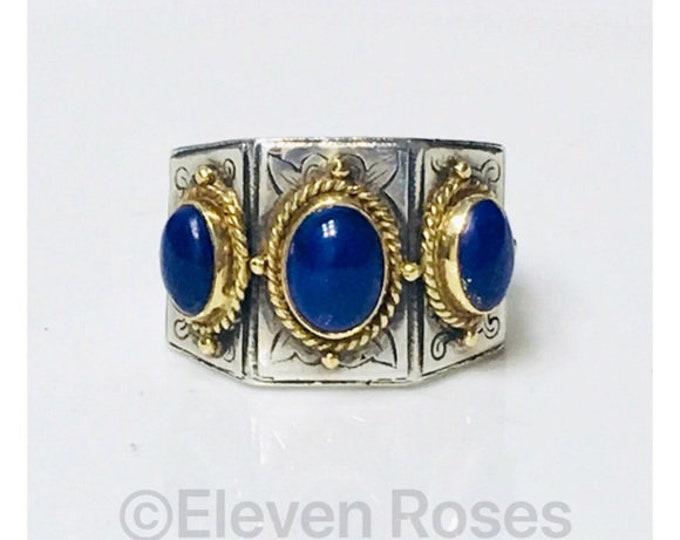 Konstantino Lapis Lazuli Three Stone Ring 925 Sterling Silver 750 18k Gold Free US Shipping