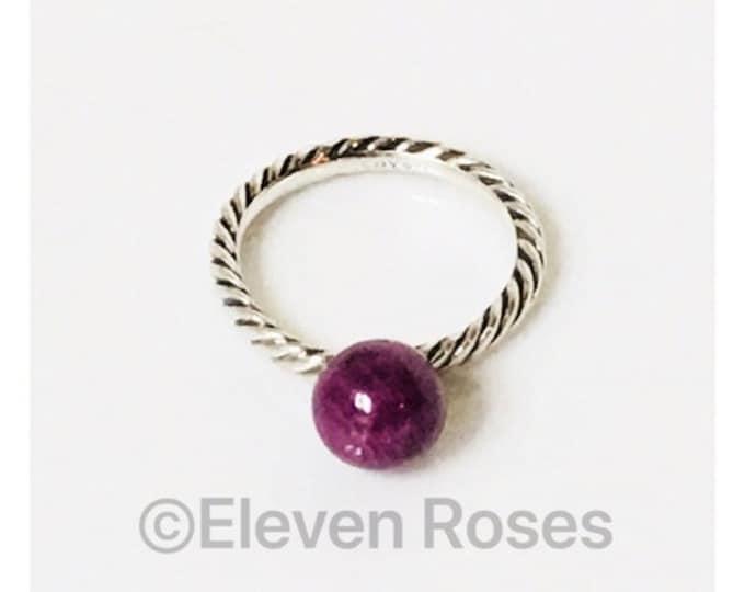 David Yurman Ruby Ball Dangle Cable Ring 925 Sterling Silver Free US Shipping