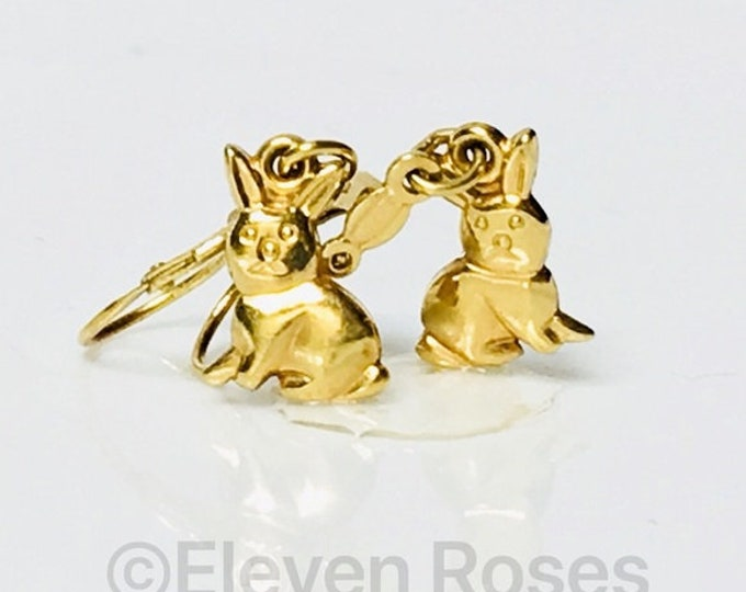 Solid 18k Gold Bunny Rabbit Drop Dangle Earrings Free US Shipping