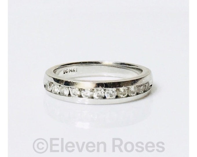Ladies 585 14k White Gold Diamond Anniversary Ring Wedding Band Free US Shipping