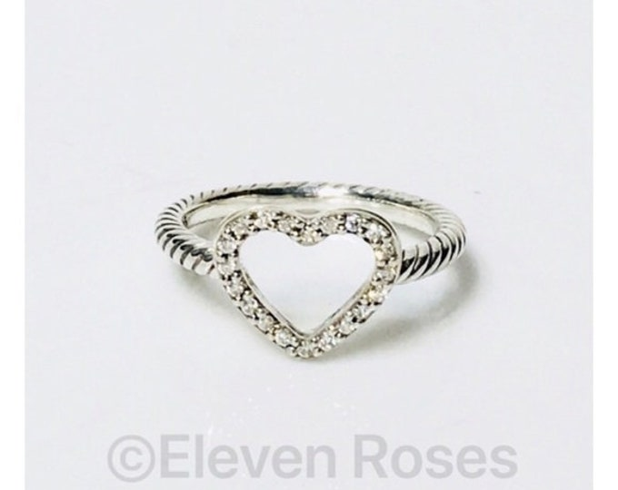 David Yurman Classic Cable Collectibles Diamond Heart Ring 925 Sterling Silver Free US Shipping