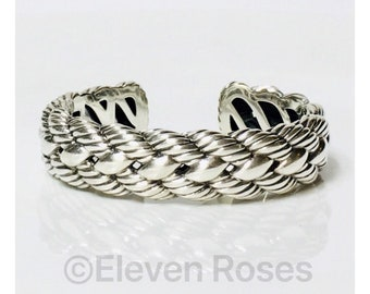 David Yurman Woven Cable Cuff Bracelet DY 925 Sterling Silver Free US Shipping