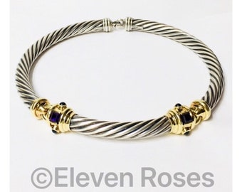 David Yurman Renaissance 10mm Amethyst Cable Choker Necklace 925 Sterling Silver 585 14k Yellow Gold Free US Shipping