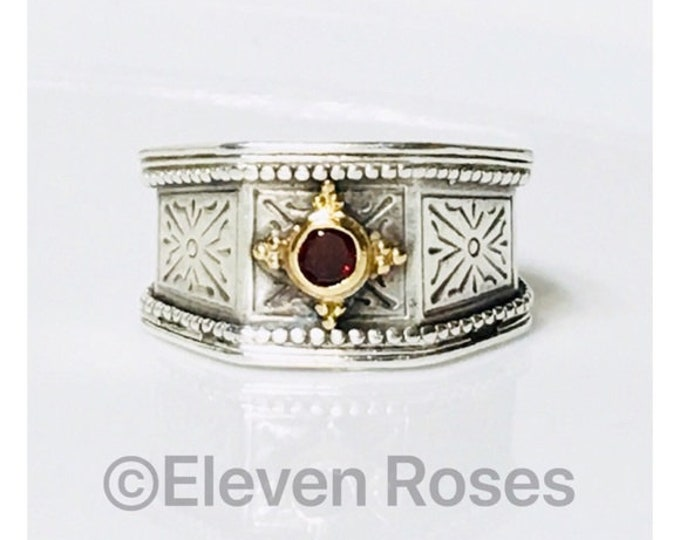Gerochristo Byzantine Garnet Wide Band Ring 925 Sterling & 18k Gold Free US Shipping