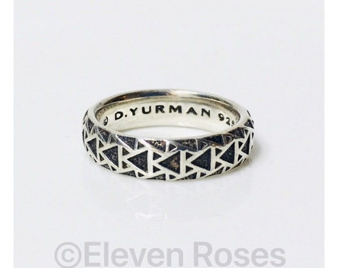 Men's David Yurman Frontier Band Ring DY 925 Sterling Silver Free Shipping