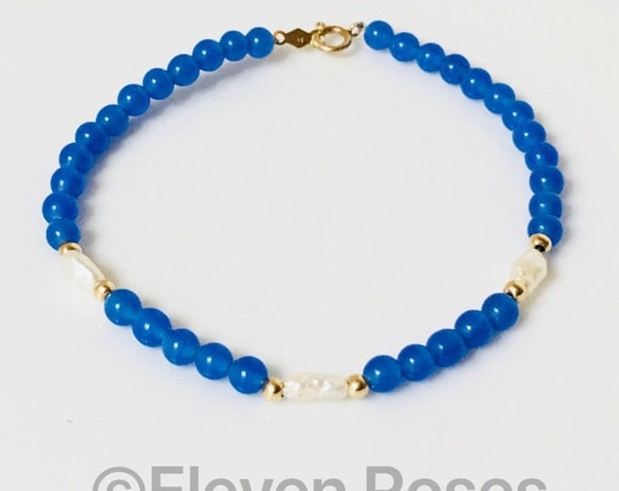 585 14k Gold Blue Agate & Pearl Bead Station Bracelet Free US Shipping