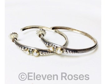 Konstantino Extra Large Pearl Hoop Earrings 925 Sterling Silver 750 18kt Yellow Gold Free US Shipping