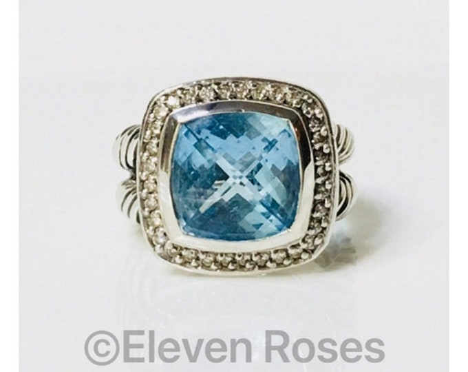 David Yurman Blue Topaz Diamond Albion Ring DY 925 Sterling Silver Free US Shipping