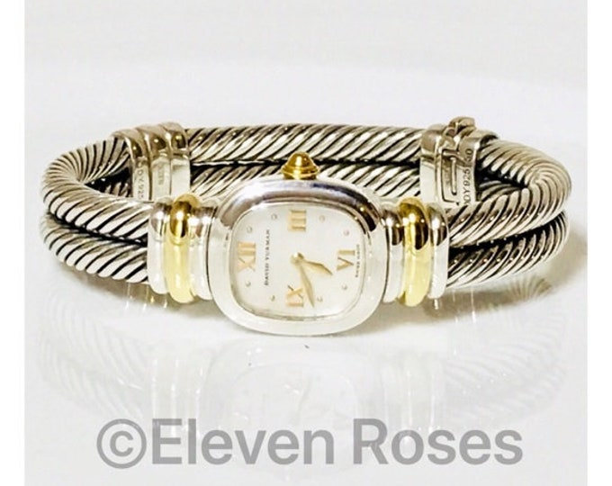 David Yurman Double Cable Mother Of Pearl Chelsea Watch DY 925 Sterling Silver 750 18k Gold Free US Shipping