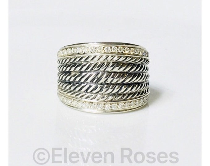 David Yurman Wide Wheaton Diamond Band Ring 925 Sterling Silver Free US Shipping