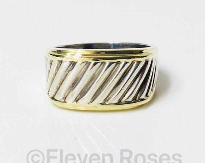 Mens David Yurman Classic Cable Cigar Band Ring 925 Sterling Silver 585 14k Gold Free US Shipping