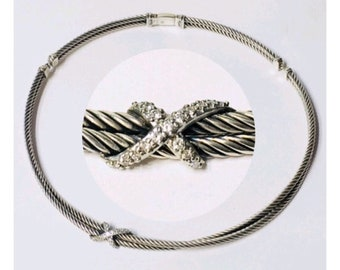 David Yurman Diamond X Double Cable Choker Necklace DY 925 Sterling Silver Free US Shipping