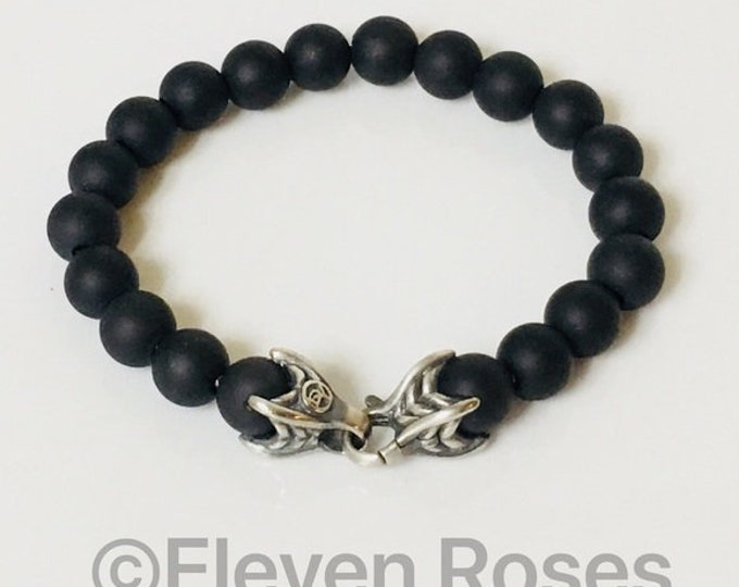David Yurman Black Onyx Black Spiritual Bead Bracelet DY 925 Sterling Silver Free US Shipping