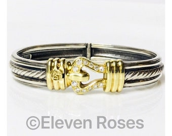David Yurman Hinged Inset Cable Diamond Buckle Bangle Bracelet DY 925 Sterling Silver 585 14k Gold Free US Shipping