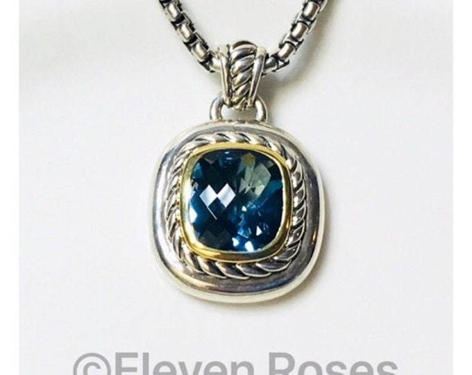 David Yurman Blue Topaz Albion Cable Enhancer Pendant Box Chain Necklace DY 925 Sterling Silver 750 18k Gold Free US Shipping