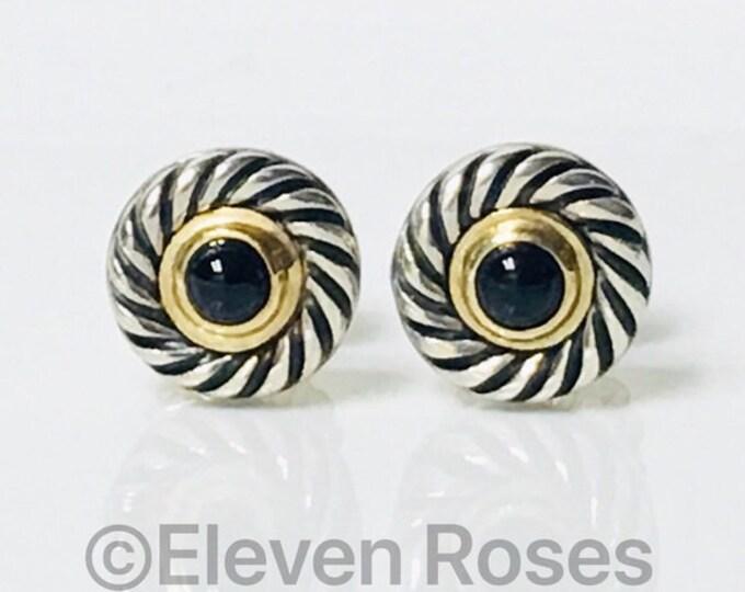 David Yurman Black Onyx Cookie Disc Earrings DY 925 Sterling Silver 585 14k Gold Free US Shipping