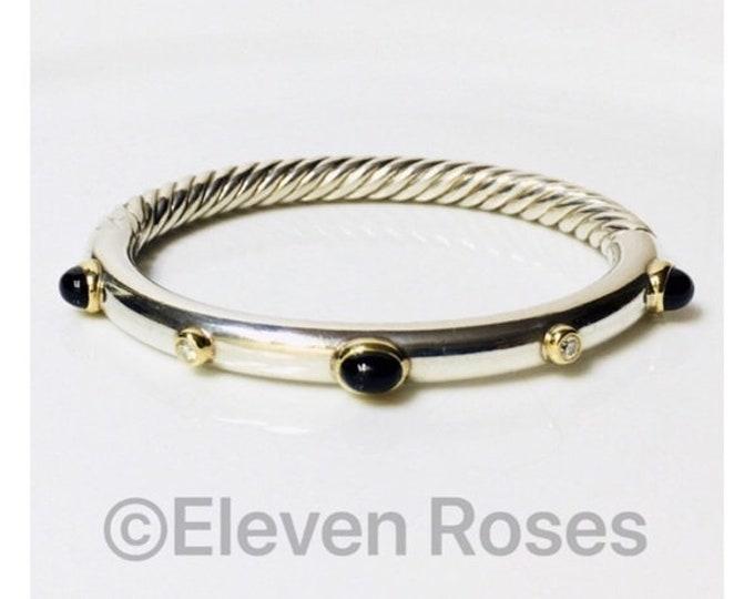 David Yurman Black Onyx Diamond Bangle Bracelet DY 925 Sterling Silver 750 18k Gold Free US Shipping