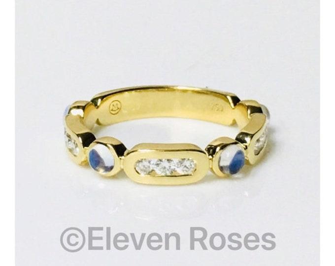 Movado Moonstone Diamond Ring 750 18k Gold Free US Shipping