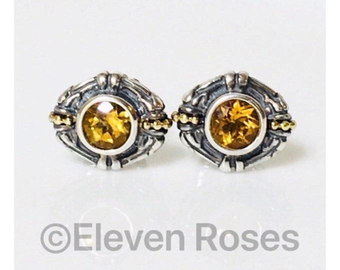 Lagos Caviar Citrine Stud Earrings 925 Sterling Silver 750 18k Gold Free US Shipping