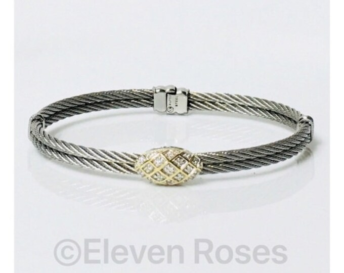 Charriol Oval Diamond Station Bangle Bracelet 750 18k Steel Cable Free US Shipping